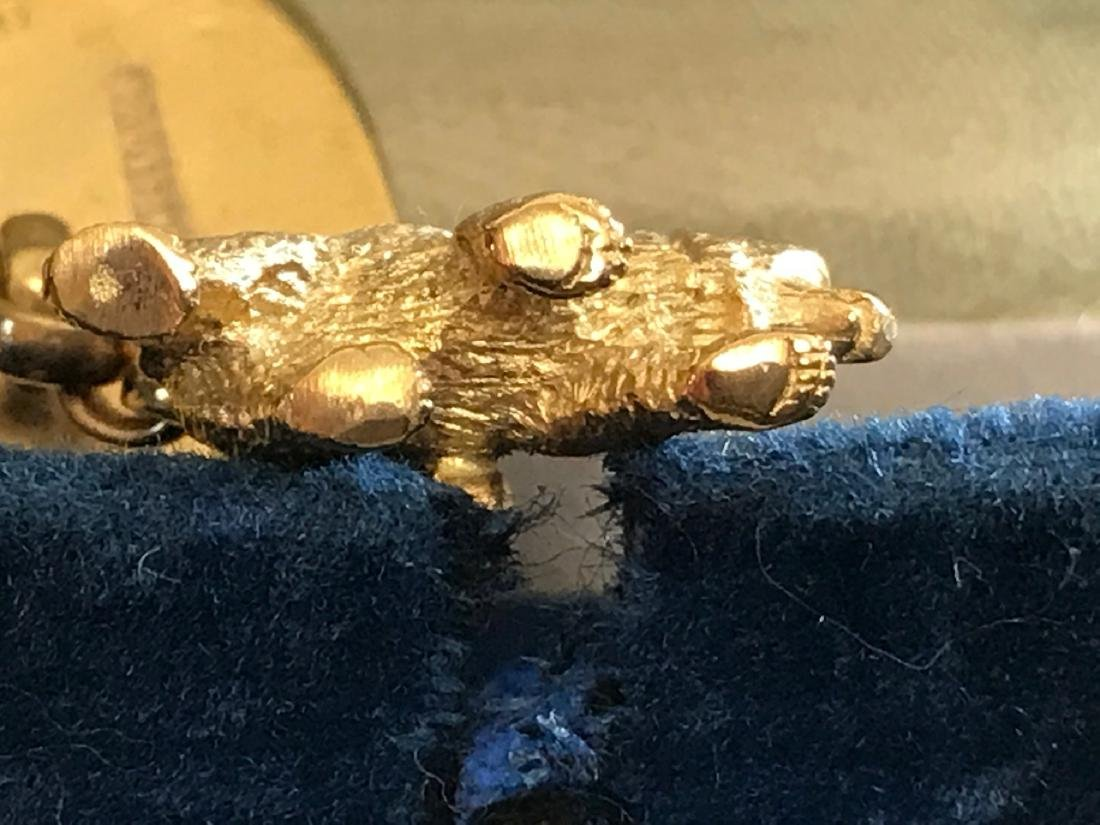 Russian Gold Blue  Enamel Diamond Elephant Cufflinks - 4