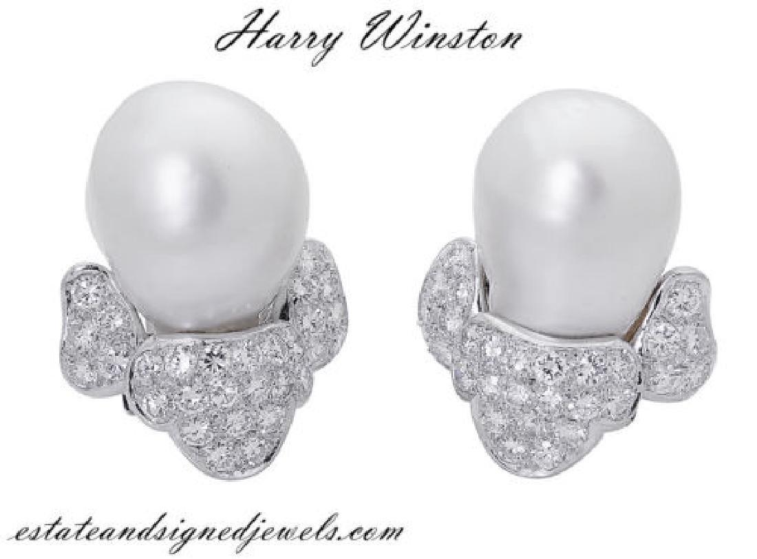 Harry Winston PT  3.50 TCW Diamond & Pearl Clip Earring