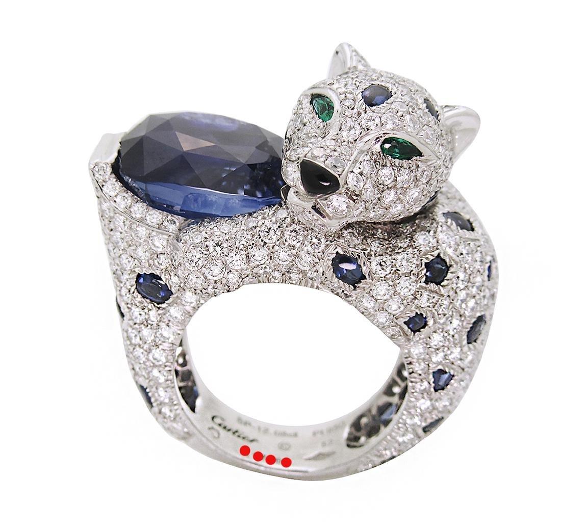 Panther de Cartier PT 950 12.08Ct Sapphire Emerald &