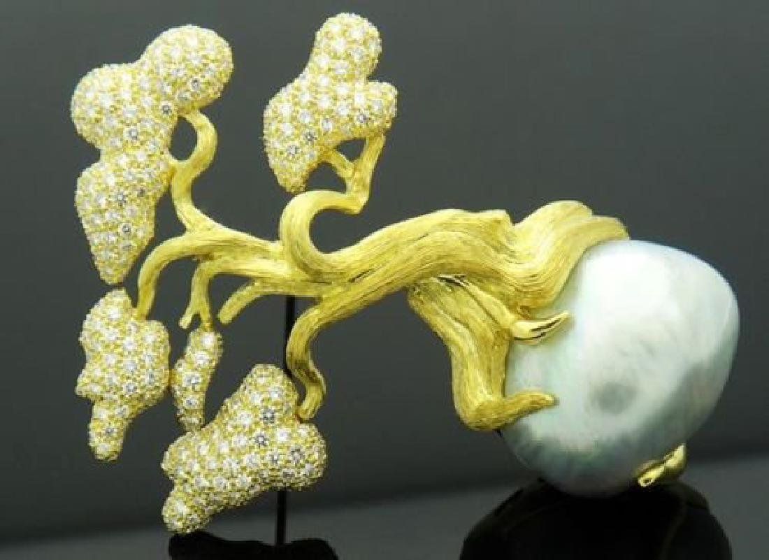 Vintage Henry Dunay Diamond South Sea Baroque Pearl