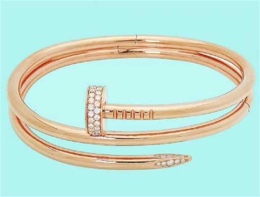 149b8e0125b Cartier 18K Juste Un Clou Diamond Double Nail Bracelet. See Sold Price