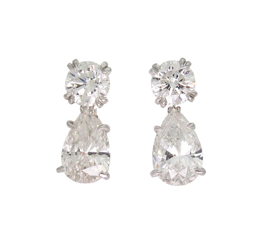 HARRY WINSTON PLAT PEAR SHAPED DIAMOND DROP EARRINGS