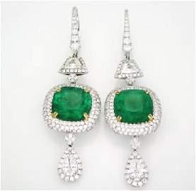 Elegant 12.97 Carat Emerald Diamond White Gold Earrings