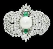 Platinum Over 30 TCW Diamond Emerald and Pearl Bracelet