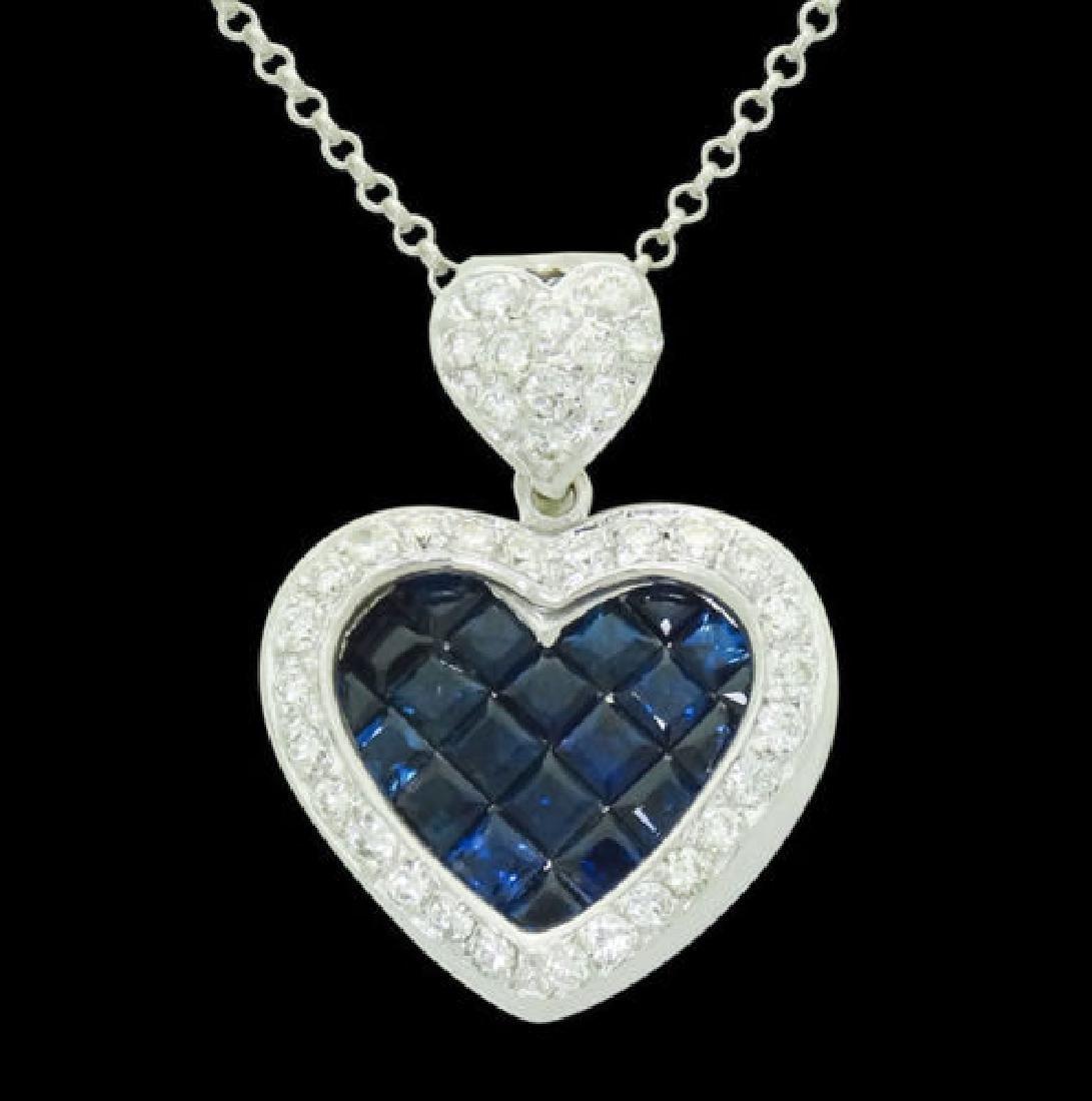 18k White Gold 2.50 TCW Diamond & Blue Sapphire Heart