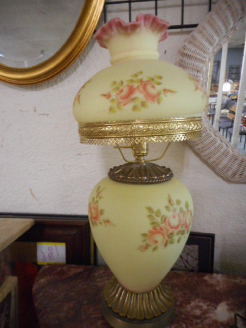Fenton Burmese Lamp Handpainted, Artist Signed & Dated,