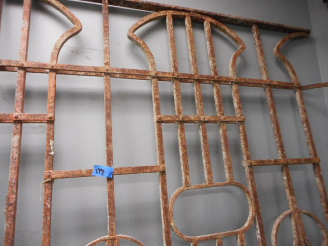 Antique Victorian Iron Gate Garden Fence Architectural - 2