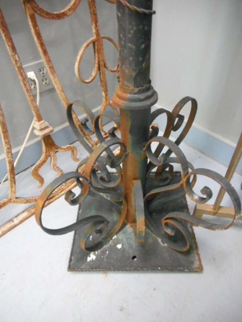 Antique Victorian Iron post with ornate planters hooks - 3