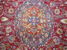 Vintage Signed Persian Mashad Rug Hand Knotted Wool