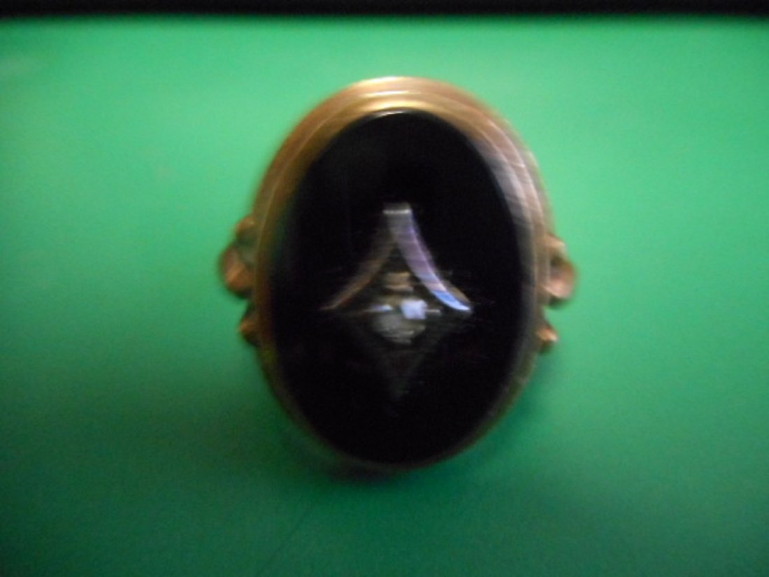 10k yellow gold onyx and diamond vintage ring estate