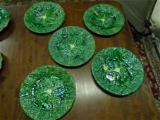 Set Of Five Antique vintage Portuguese Majolica Plates
