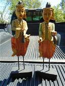 Vintage Thai Asian Musician Hand Carved Musicians (2)