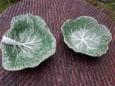 Majolica Portugal Cabbage Leaf Large Bowls lot of 2