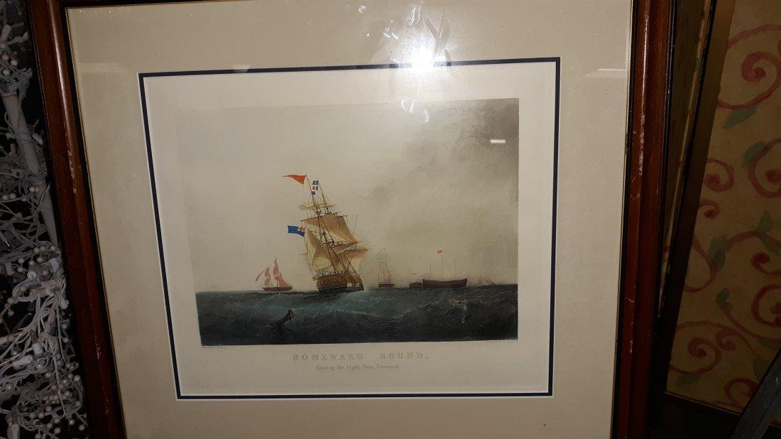 "H Papprill, ""Homeward  Bound "" Engraving framed"