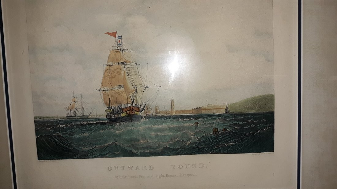 """H Papprill, """"Outward  Bound """" Engraving framed"""