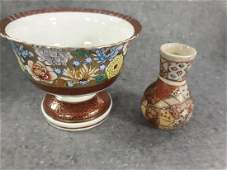 Antique Vase Chinese /Asian Center bowl lot of 2