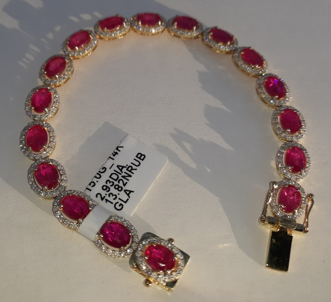 14K  yellow gold Rubies and Diamond Bracelet w /Apprais
