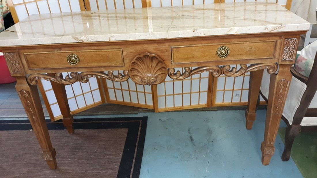 Carved Wood Marble Top Console Table Century Furniture