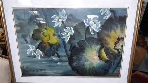 Original Painting Lotus In the Rain Frank H Spink Jr