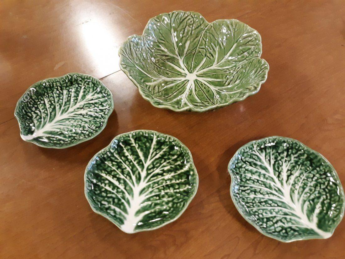 Majolica Cabbage Leaf Bowls lot of 4 LQQK!