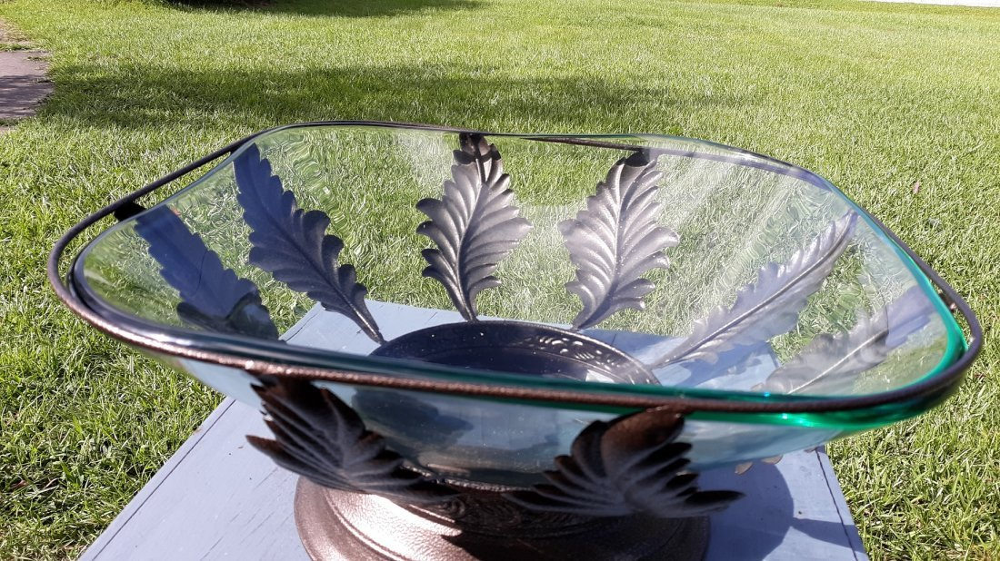 Large Metal and glass Centerpiece Bowl