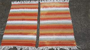 """Cotton Striped 24"""" x 35"""" Accent Rug lot of 2"""