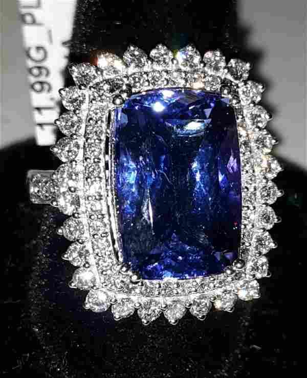 Tanzanite 9 Carats,Diamonds Platinum Ring w/app Gia