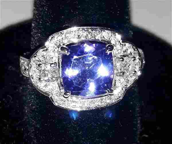 Art Deco Tanzanite /Diamond Ring 14k w/appraisal