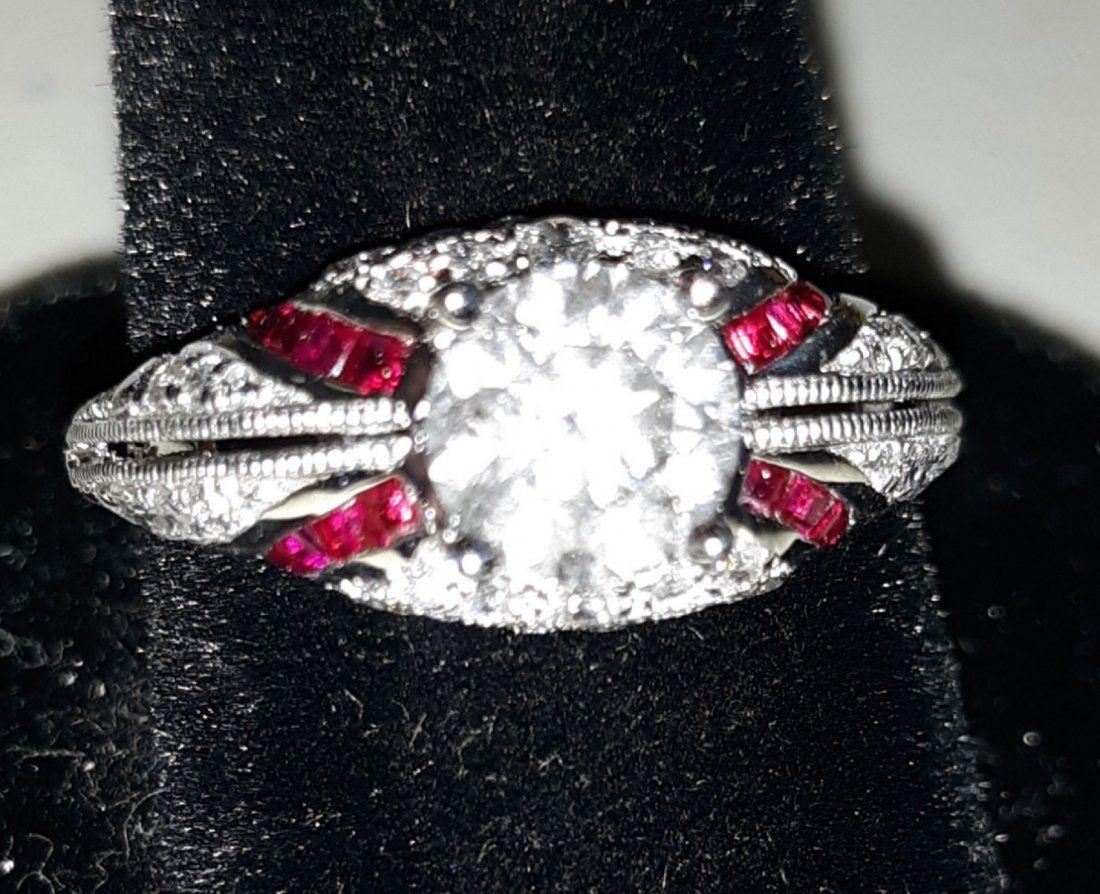 art deco platinum ruby diamond ring 1 carat solitaire