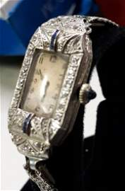 Art Deco 1920 Platinum Diamonds& Sapphire Ladies Watch!