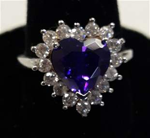 Gorgeous sterling & purple & white Sapphires ring sz 7