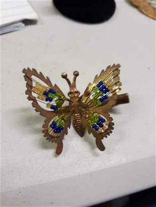 vintage japan trembling butteryfly clip