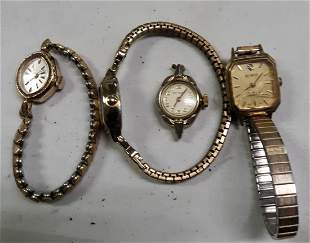 vintage estate watches wind up and quartz lot of 4