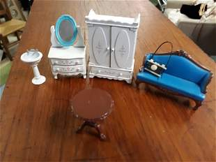 estate lot of metal doll furniture dressers,sink,couch+