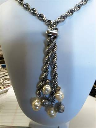 mid century twist necklace w/large pearls 24""