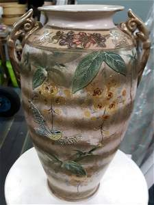 antique 1800's japan moriage Vase Swallows hand thrown