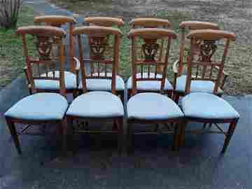 Solid Oak Wheat Shield back Dining Chairs 8 x bid!