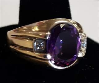 stunning estate 5 Carat Amethyst and Diamonds 10K ring