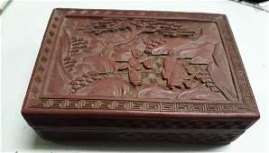 "Rare Antique Cinnabar Carved Box 5 5/8"" wide"
