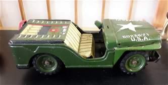 Vintage Japan Kanto tin litho friction Jeep 50's! toy