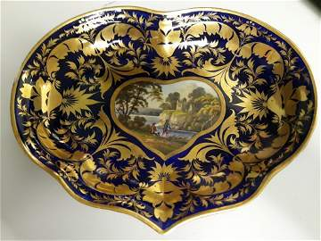 Early Derby Heart shaped bowl cobalt blue w/gold scroll