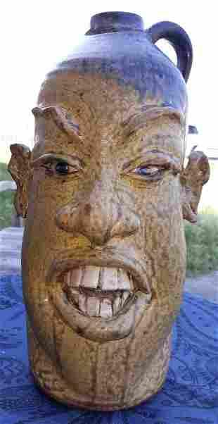 "Kevin Haney ""Red Dog"" Pottery face Jug Tobacco spit!"