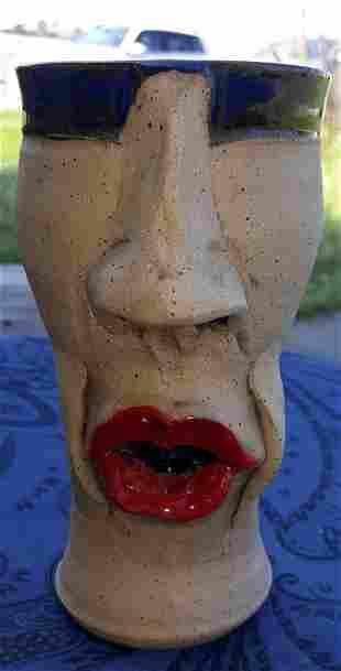 Terri Kennedy Face pottery Jug Mug Shotz Brewskiz!