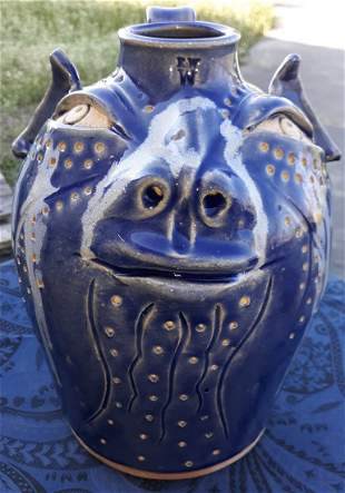 Richard Wright Pig Face Jug Great Glaze & Color!