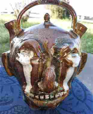"Marvin Bailey Double Spout Face Jug 11 1/4"" Awesome!"