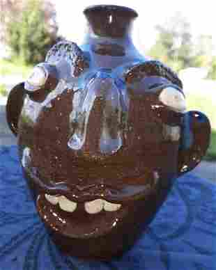 """Catawba NC Face Jug Pottery by Sybil 7"""""""
