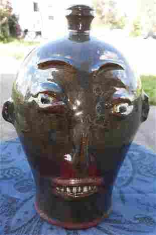 "Marvin Bailey Face Jug pottery great glaze11"""