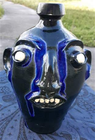"Randy Tobias Face Jug Pottery 11"" awesome!"
