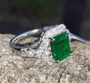 Emerald Diamond Platinum Ring Cert. Appraisal $8394