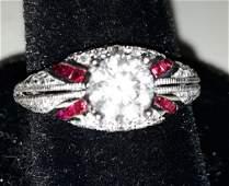 Platinum Ruby Diamond Ring 1 Carat Solitaire Sz 7